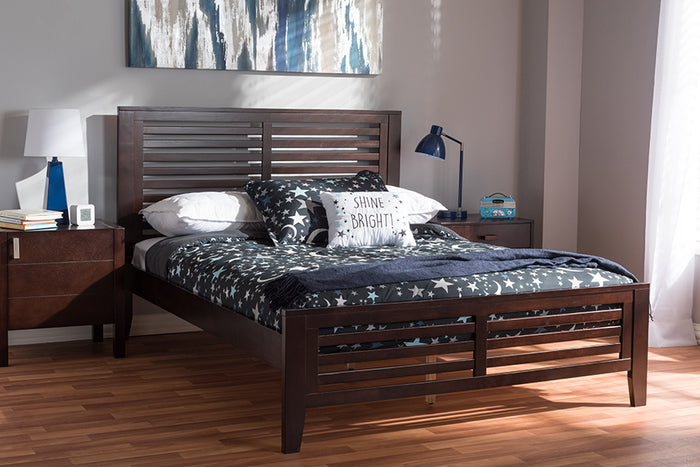 Baxton Studio Sedona Modern Classic Mission Style Espresso Brown-Finished Wood Full Platform Bed
