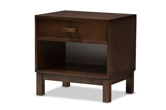 Baxton Studio Deirdre Modern and Contemporary Brown Wood 1-Drawer Nightstand