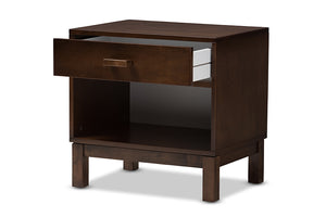 Baxton Studio Deirdre Modern and Contemporary Brown Wood 1-Drawer Nightstand Image 4