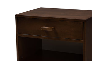 Baxton Studio Deirdre Modern and Contemporary Brown Wood 1-Drawer Nightstand Image 7