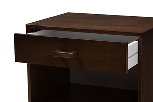 Baxton Studio Deirdre Modern and Contemporary Brown Wood 1-Drawer Nightstand Image 8