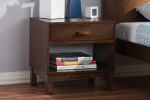 Baxton Studio Deirdre Modern and Contemporary Brown Wood 1-Drawer Nightstand Image 10
