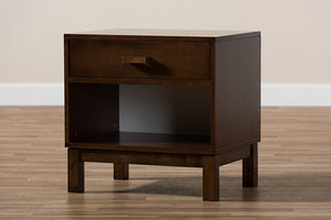 Baxton Studio Deirdre Modern and Contemporary Brown Wood 1-Drawer Nightstand Image 11