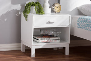 Baxton Studio Deirdre Modern and Contemporary White Wood 1-Drawer Nightstand Image 10