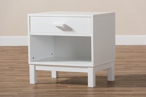 Baxton Studio Deirdre Modern and Contemporary White Wood 1-Drawer Nightstand Image 11