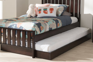 Baxton Studio Payton Modern and Contemporary Dark Brown-Finished Twin Trundle-Beds with Trundle-HipBeds.com