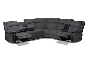 Baxton Studio Sabella Modern and Contemporary Dark Grey and Light Grey Two-Tone Fabric 7-Piece Reclining Sectional-Sectional Sofas-HipBeds.com