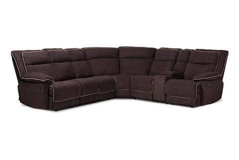 Baxton Studio Sabella Modern and Contemporary Light Brown Fabric Upholstered 7-Piece Reclining Sectional Image 3