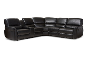 Baxton Studio Amaris Modern and Contemporary Black Bonded Leather 5-Piece Power Reclining Sectional Sofa with USB Ports-Sectional Sofas-HipBeds.com