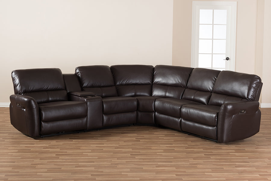 Excellent Baxton Studio Amaris Modern And Contemporary Dark Brown Bonded Leather 5 Piece Power Reclining Sectional Sofa With Usb Ports Unemploymentrelief Wooden Chair Designs For Living Room Unemploymentrelieforg