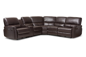 Baxton Studio Amaris Modern and Contemporary Dark Brown Bonded Leather 5-Piece Power Reclining Sectional Sofa with USB Ports Image 3