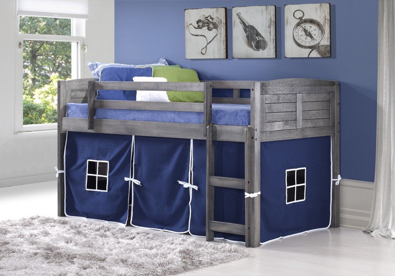 Lowest Price Donco Kids Twin Louver Low Loft Bed Grey