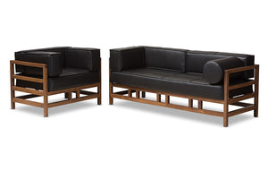 Baxton Studio Shaw Mid-Century Modern Pine Black Faux Leather Walnut Wood 2-Piece Living Room Sofa Set Image 3