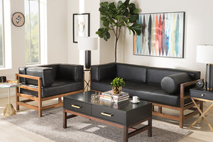 Baxton Studio Shaw Mid-Century Modern Pine Black Faux Leather Walnut Wood 2-Piece Living Room Sofa Set Image 5