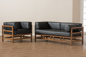 Baxton Studio Shaw Mid-Century Modern Pine Black Faux Leather Walnut Wood 2-Piece Living Room Sofa Set Image 6