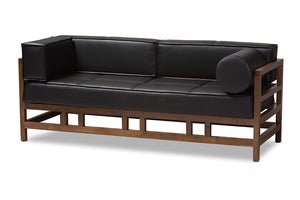 Baxton Studio Shaw Mid-Century Modern Pine Black Faux Leather Walnut Wood 2-Seater Sofa-Sofas & Loveseats-HipBeds.com