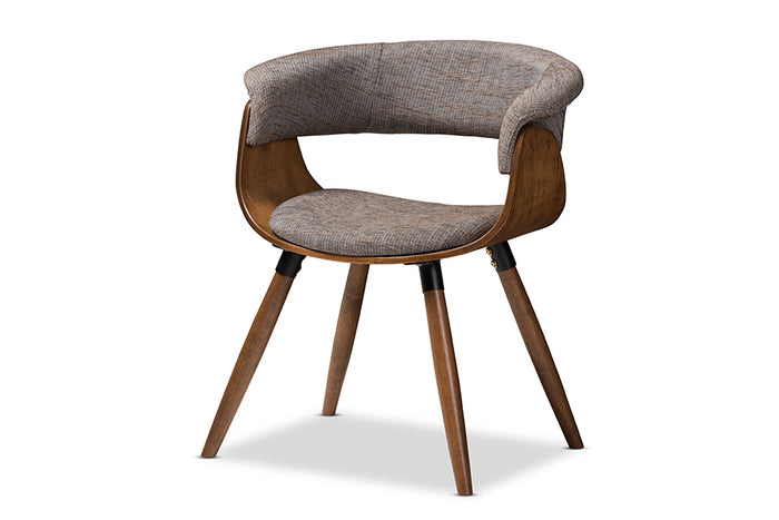 Baxton Studio Bryce Mid-Century Modern Grey Fabric Upholstered Walnut Finished Bent Wood Dining Chair
