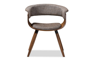 Baxton Studio Bryce Mid-Century Modern Grey Fabric Upholstered Walnut Finished Bent Wood Dining Chair Image 4