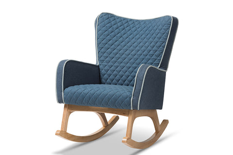 Baxton Studio Zoelle Mid-Century Modern Blue Fabric Upholstered Natural Finished Rocking Chair Image 3
