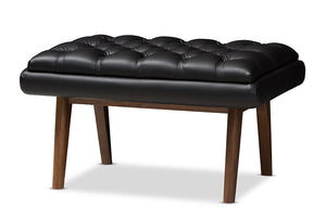 Baxton Studio Annetha Mid-Century Modern Black Faux Leather Upholstered Walnut Finished Wood Ottoman-Ottomans-HipBeds.com