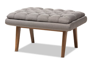 Baxton Studio Annetha Mid-Century Modern Grey Fabric Upholstered Walnut Finished Wood Ottoman-Ottomans-HipBeds.com