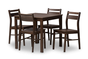 Baxton Studio Lovy Modern and Contemporary Walnut-Finished 5-Piece Dining Set Image 3