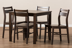 Baxton Studio Lovy Modern and Contemporary Walnut-Finished 5-Piece Dining Set Image 7