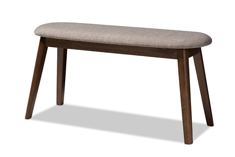 Baxton Studio Easton Mid-Century Modern Light Grey Fabric Upholstered Walnut Finished Wood Bench-Benches-HipBeds.com