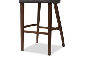 Baxton Studio Melrose Mid-Century Modern Dark Grey Fabric Upholstered Walnut Finished Wood Bar Stool Set of 2-Table & Bar Stools-HipBeds.com