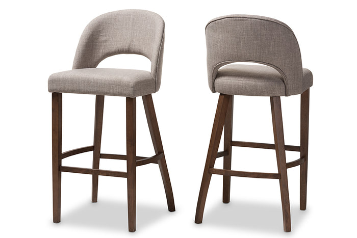 Baxton Studio Melrose Mid-Century Modern Light Grey Fabric Upholstered Walnut Finished Wood Bar Stool Set of 2
