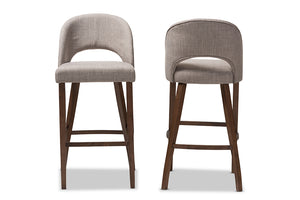 Baxton Studio Melrose Mid-Century Modern Light Grey Fabric Upholstered Walnut Finished Wood Bar Stool Set of 2-Table & Bar Stools-HipBeds.com