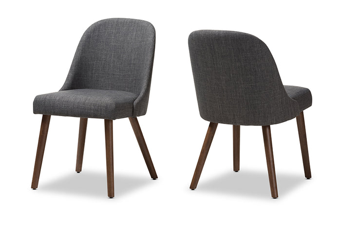 Baxton Studio Cody Mid-Century Modern Dark Grey Fabric Upholstered Walnut Finished Wood Dining Chair Set of 2
