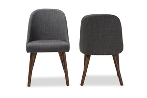 Baxton Studio Cody Mid-Century Modern Dark Grey Fabric Upholstered Walnut Finished Wood Dining Chair Set of 2-Dining Chairs-HipBeds.com