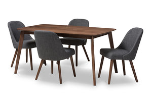 Baxton Studio Cody Mid-Century Modern Dark Grey Fabric Upholstered Walnut Finished Wood 5-Piece Dining Set-Dining Sets-HipBeds.com