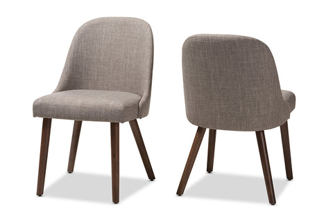 Baxton Studio Cody Mid-Century Modern Light Grey Fabric Upholstered Walnut Finished Wood Dining Chair Set of 2 Image 3