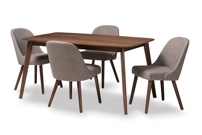 Baxton Studio Cody Mid-Century Modern Light Grey Fabric Upholstered Walnut Finished Wood 5-Piece Dining Set