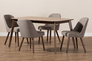 Baxton Studio Cody Mid-Century Modern Light Grey Fabric Upholstered Walnut Finished Wood 5-Piece Dining Set-Dining Sets-HipBeds.com