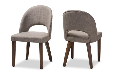 Baxton Studio Wesley Mid-Century Modern Light Grey Fabric Upholstered Walnut Finished Wood Dining Chair Set of 2 Image 3