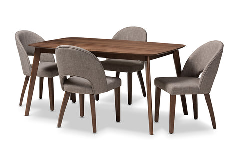 Baxton Studio Wesley Mid-Century Modern Light Grey Fabric Upholstered Walnut Finished Wood 5-Piece Dining Set-Dining Sets-HipBeds.com
