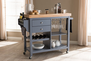 Baxton Studio Sunderland Coastal and Farmhouse Grey Wood Kitchen Cart Image 15