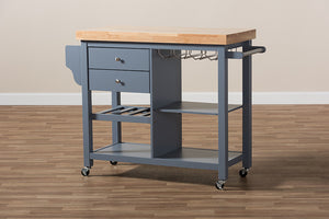 Baxton Studio Sunderland Coastal and Farmhouse Grey Wood Kitchen Cart Image 16