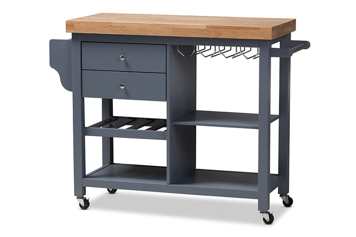 Baxton Studio Sunderland Coastal and Farmhouse Grey Wood Kitchen Cart