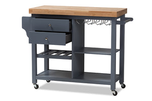 Baxton Studio Sunderland Coastal and Farmhouse Grey Wood Kitchen Cart Image 4