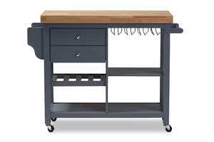 Baxton Studio Sunderland Coastal and Farmhouse Grey Wood Kitchen Cart Image 5