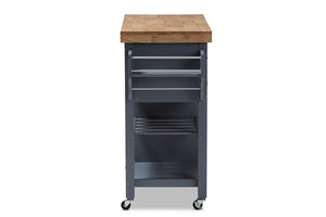 Baxton Studio Sunderland Coastal and Farmhouse Grey Wood Kitchen Cart Image 6