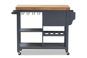 Baxton Studio Sunderland Coastal and Farmhouse Grey Wood Kitchen Cart Image 7
