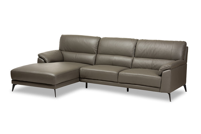 Baxton Studio Radford Modern and Contemporary Dark Grey Leather Left Facing Chaise 2-Piece Sectional Sofa