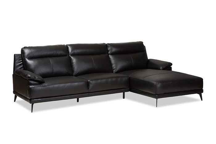 Baxton Studio Rabbie Modern and Contemporary Black Leather Right Facing Chaise 2-Piece Sectional Sofa