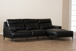 Baxton Studio Rabbie Modern and Contemporary Black Leather Right Facing Chaise 2-Piece Sectional Sofa Image 8