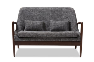 Baxton Studio Carter Mid-Century Modern Walnut Wood Grey Fabric Upholstered 2-seater Loveseat-Sofas & Loveseats-HipBeds.com